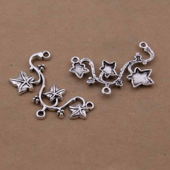 Yage 28*48mm 10pcs Metal Tibetan Silver Leaves Connector,Vintage Bracelet Charms Pendant For Jewelry Making XBL798