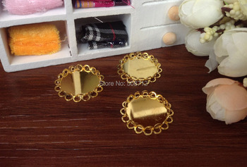 !!! 100pcs 25mm Gold Plated Lace Bezel Cup Cabochon Mountings Pendant Trays